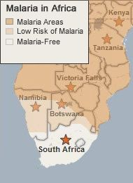 Malaria Map of Southern and East Africa