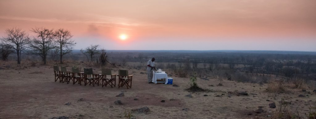 Sun-downer drinks are served overlooking South Luangwa