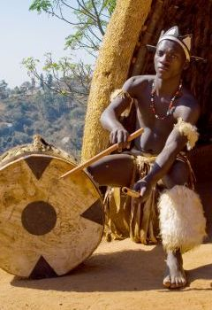 Traditional Zulu drummer.