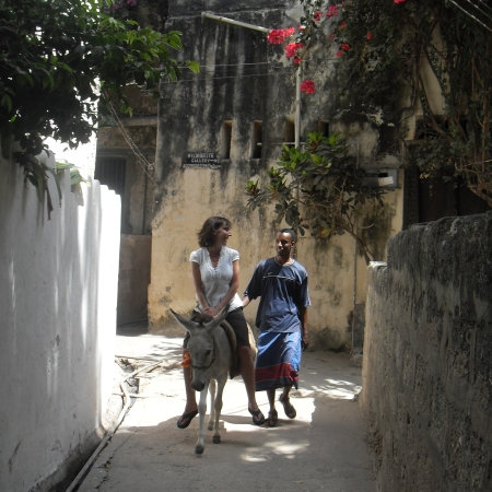 Exploring Lamu Town on a donkey