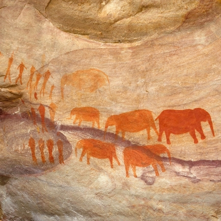 Ancient Bushman rock art dating back thousands of years