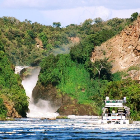 Boat trip to the base of the Murchison Falls from Bakers Lodge