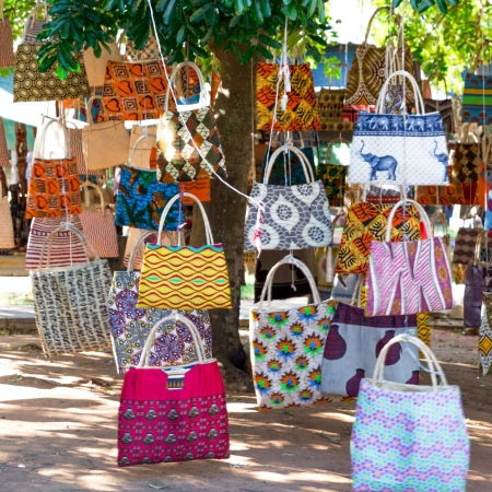 Colourful bags in a Maputo market