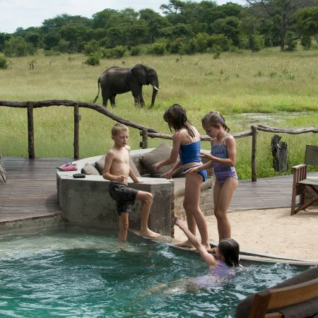 Having fun in the pool at Somalisa Camp in Hwange