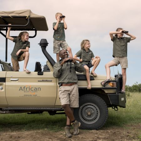 Kids on Safari at Somalisa Acacia Camp in Hwange