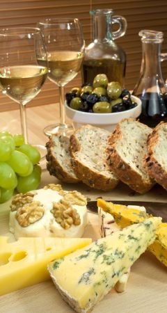 Wine, cheese and bread - a heavenly combination.
