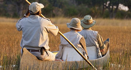 Exploring the Okavango Delta by canoe