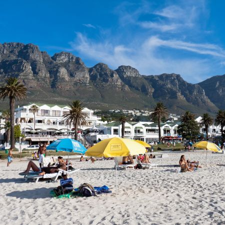 The popular beach at Camps Bay.