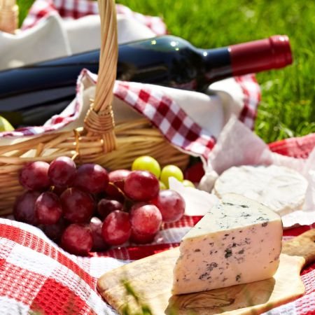 Picnic with wine.