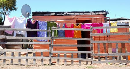 Washing drying in township outside Cape Town.