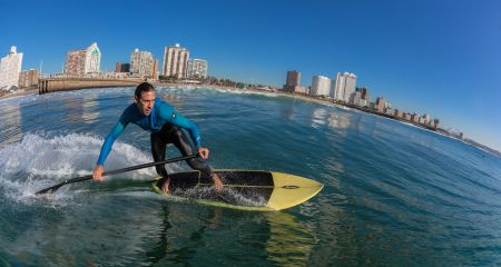 Paddleboarding near Durban's Golden mile.