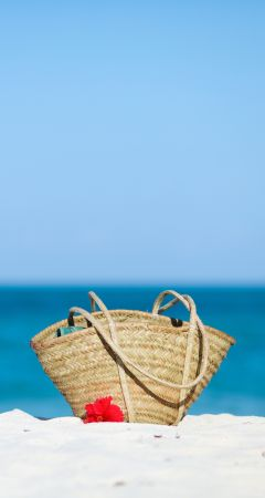 Bag on the beach.