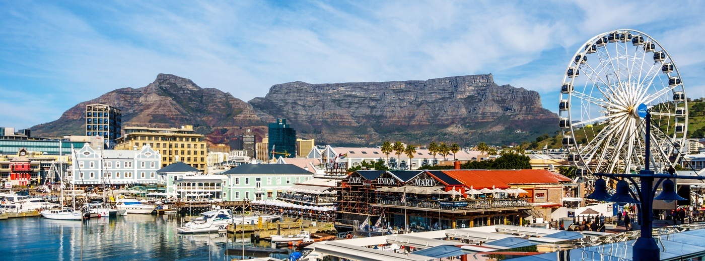 View of V&A Waterfront and Table Mountain, Cape Town.