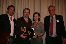 Paul & Tracey Campbell accepting The Adrian Gardiner Award for Innovation from Adrian Gardiner (chairman of The Mantis Collection), and Will Carling (former England Rugby captain)