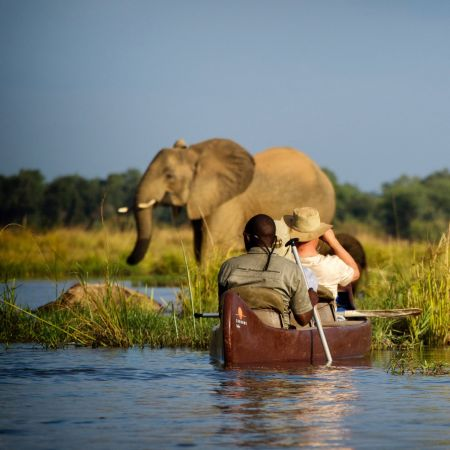 Canoe on the Zambezi River, Zambia.